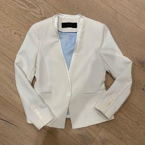 Zara White Tuxedo Jacket with Satin Lining